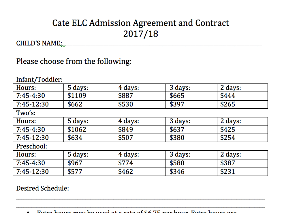 201718 Contract And Admission Agreement Cate School